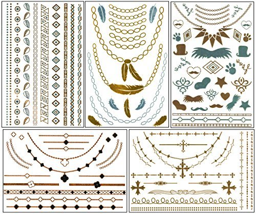 chictats-metallic-gold-silver-temporary-flash-tattoos-5-sheet-pack-what-you-see-in-the-main-image-is