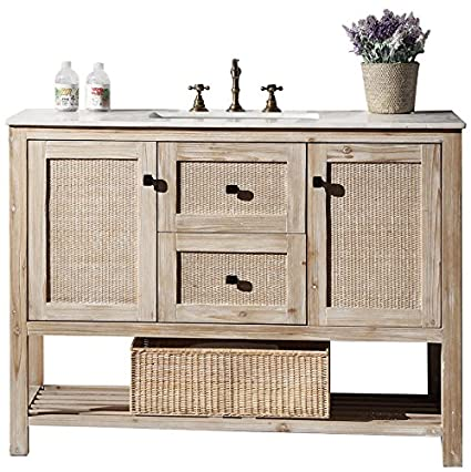"Legion Furniture WH5148 Solid Wood Sink Vanity With Marble Top and Without Faucet, 48"", White Wash"