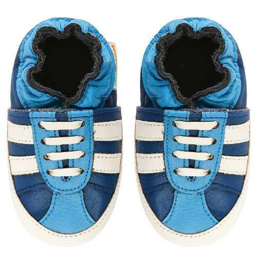 Momo Baby Infant/Toddler Striped Sneaker Blue Soft Sole Leather Shoes - 6-12 Months/3-4 M Us Toddler front-12740