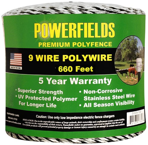 Powerfields Ew936-660 9 Polywire, 660-Feet, White/Black