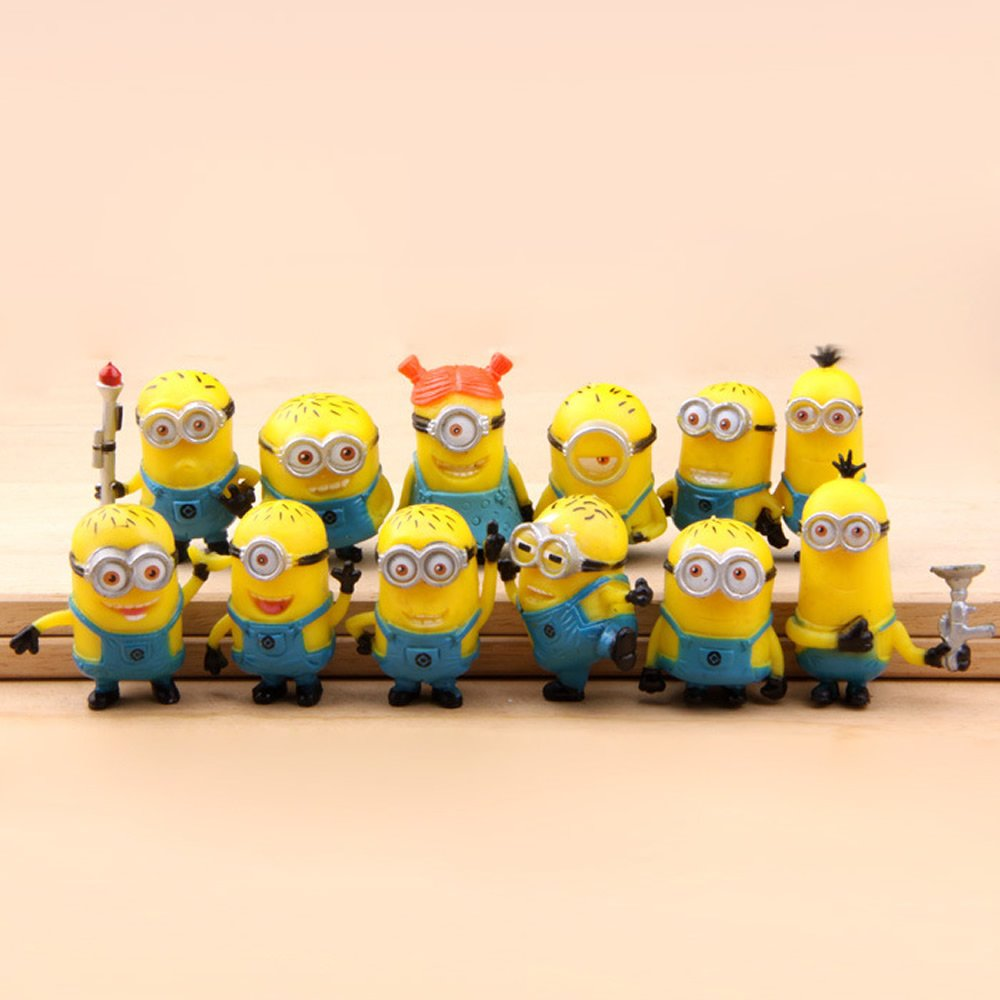 12 X Despicable Me The Minions PVC Miniature Toy Figures 3-4cm/1.2-1.6inch Tall