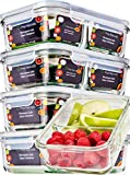 [5 Pcs] Glass Meal Prep Containers Glass 2 Compartment - Glass Food Storage Containers - Glass Storage Containers with Lids - Divided Glass Lunch Containers Food Container - Glass Food Containers 30oz