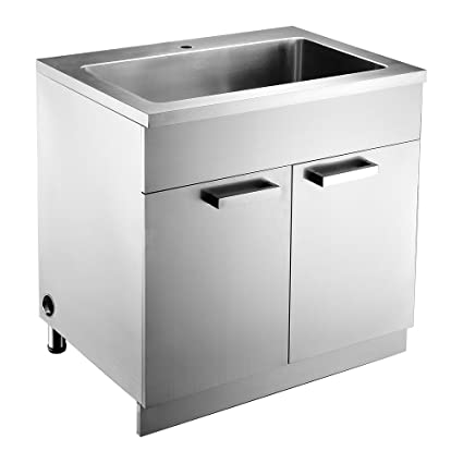 Dawn SSC3036 Stainless Steel Sink Base Cabinet with Built In Garbage Can
