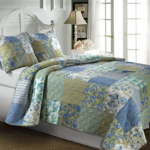 3pc Country Cottage Floral Paisley Blue Green Cotton Quilt Set Full/Queen Size