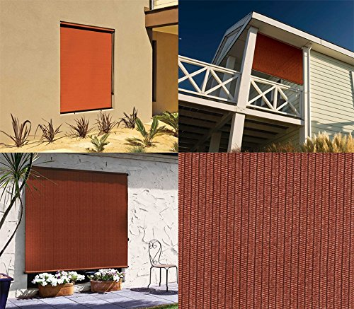 Coolaroo Select Exterior Cordless Roller Shade 4ft By 6ft Terracotta Home Garden Decor Window