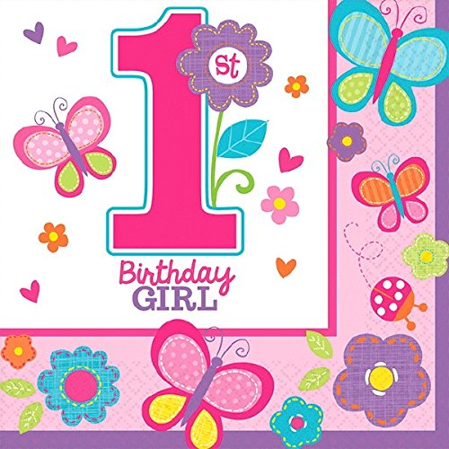 "Amscan Sweet Birthday Girl 1st Birthday Beverage Napkins, 10.5"", Pink/Purple"