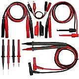 Aidetek silicone rubber wire 7 in 1 set needle tipped tip alligator clips mini-grabber test leads 4 FLUKE multimeter DMM tester TLP20258 (Tamaño: TLP20258)