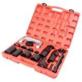 GZYF Heavy Duty Ball Joint Service Tool Kit for 2WD and 4-Wheel Drive Car Repair Remover Installer Universal U-Joint Puller C-Clamp (21PCS) (Color: Red & Black, Tamaño: 21PCS)