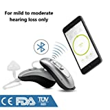 FDA Approved Small Behind the Ear Quality 100% Digital Bluetooth Hearing Aid Sound Amplifier (PSAP) - (1 hearing aid in box) (Silver/grey) (Color: Silver / Grey)