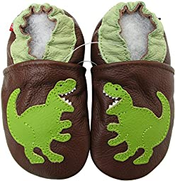 Carozoo baby boy soft sole leather infant toddler kids shoes T-REX Brown 7-8y
