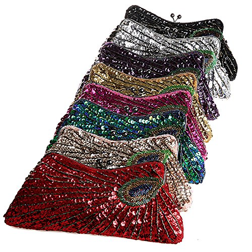 BEA145 Stunning Fully Sequined Feather Pattern Evening Purse Fashion Party Clutch Handbag Gift
