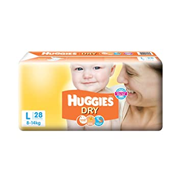 Image result for Huggies New Dry Large Size Diapers (28 Counts)