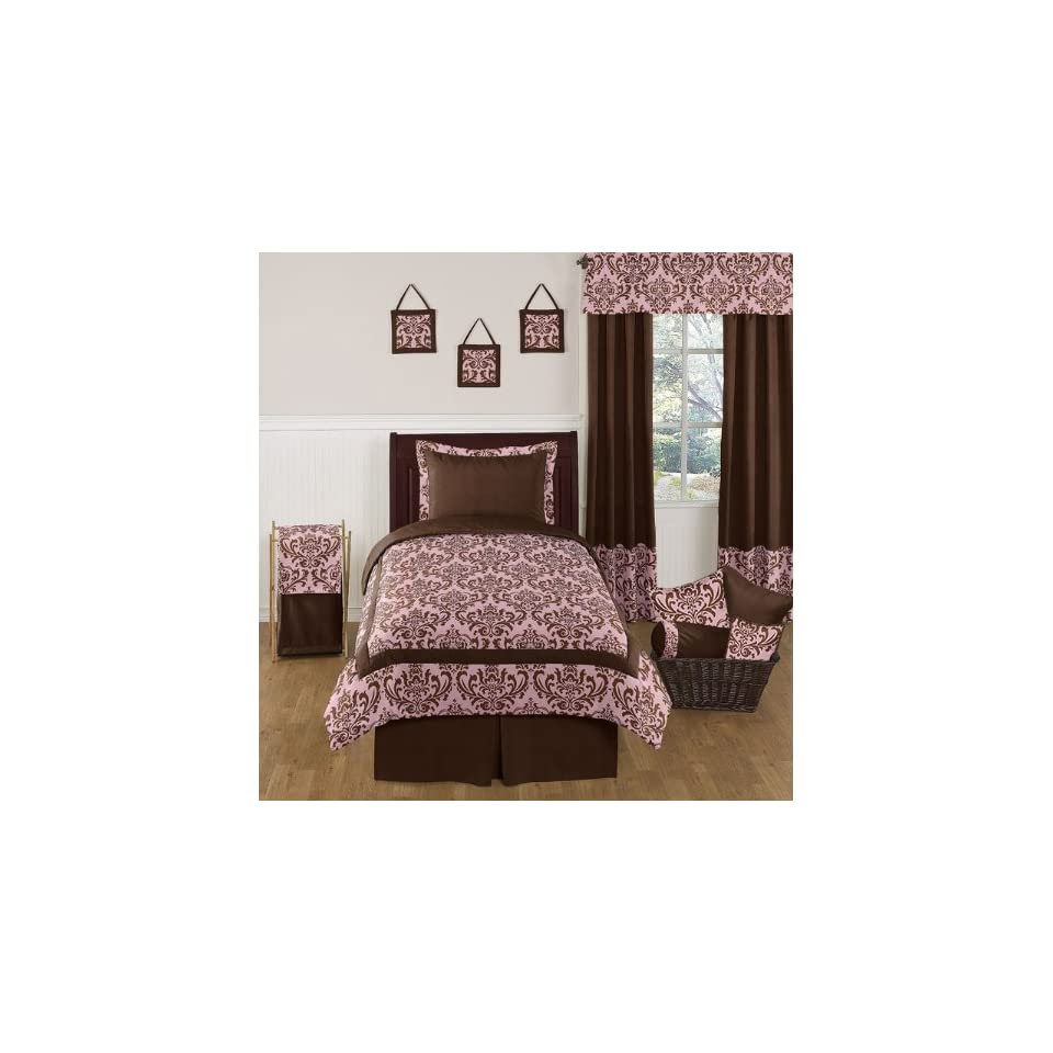 Pink and Chocolate Nicole Childrens and Teen Bedding Set   4 pc Twin Set by Sweet Jojo Designs   Bedding Collections