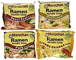 Maruchan Ramen Unique Variety Pack; 3oz Mushroom, Pork, Roast Beef, and Creamy Chicken (Pack of 24)