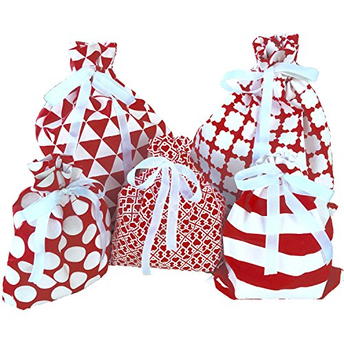Reusable Fabric Gift Bags - Wrap Christmas Presents in seconds (Standard Set, Red)