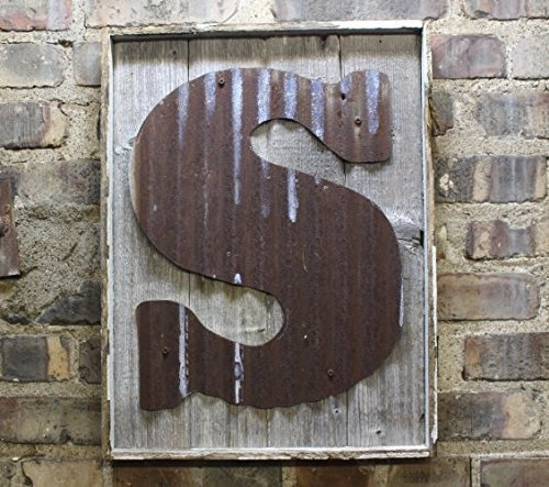 Rusty Tin Letter on Rustic Wood Frame Monogram rustic letter, large letters, Home Decor, Initials, rustic wedding decor (Tin Numbers compare prices)