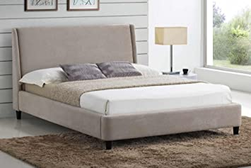 Stylish Sand Fabric Upholstered 4ft Small Double Modern Design Bed Frame