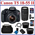 Canon EOS Rebel T5 Digital SLR Camera with 4 Lenses Professional Bundle: Includes - Canon EF-S 18-55mm IS II Lens + Canon EF 75-300mm f/4-5.6 III Lens + 2.2X Telephoto & 0.43X Wide Angle Lenses + Spare Battery + Camera Bag + Mini HDMI Cable + 32GB High Sp