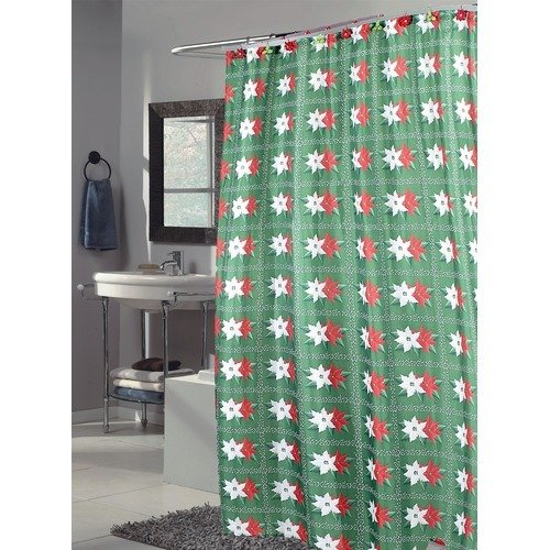 Poinsettia Pointsetta Pointsettia Fabric Christmas Shower Curtain Holiday Decor Brand New