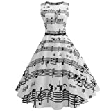 Funic Women's Vintage Musical Note Printing Bodycon Sleeveless Evening Party Prom Swing Dress (L, White)