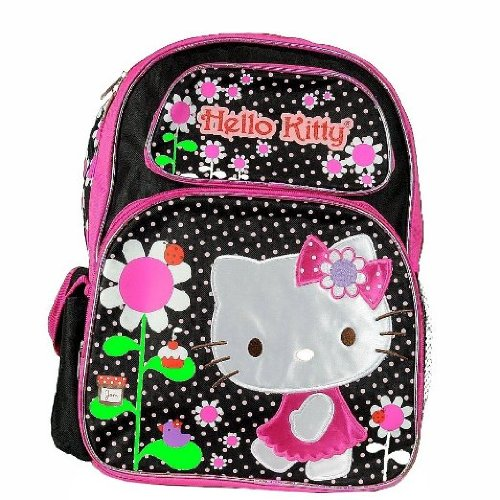 Hello-Kitty-Flowers-BlackPink-Backpack-17-School-Bag-BP-5281