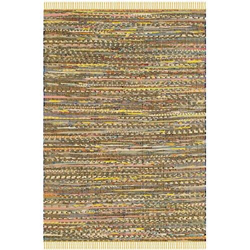 Safavieh Rag Rug Collection RAR121H Hand Woven Yellow and Multi Cotton Area Rug, 4 feet by 6 feet (4' x 6')