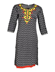 Global Women's Cotton Straight Kurta (GW16Black40015, Black, 40)