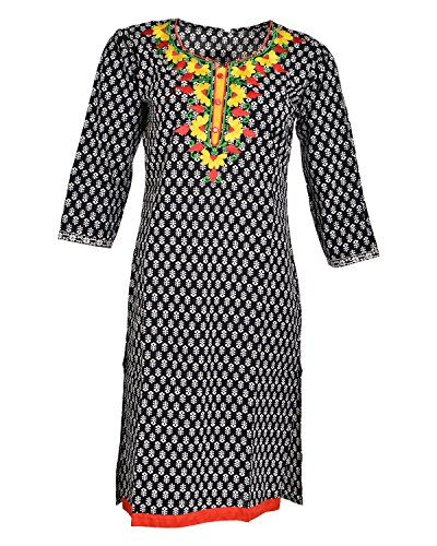 Global Women's Cotton Straight Kurta (GW16Black40015, Black, 40)