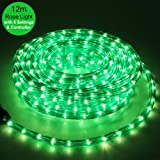 12m (40ft) Green LED Rope Lights with Static / Multi-Functional Flashing Controller (suitable for Indoor / Outdoor)