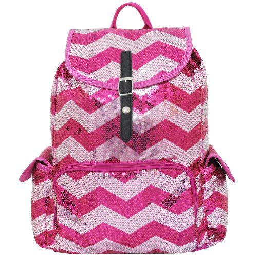 Sequin Chevron Pattern Drawstring Backpack Bookbag (Hotpink)