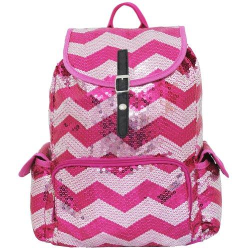 Sequin Chevron Pattern Drawstring Backpack Bookbag (Hotpink)