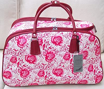 Travel bag on wheels Cream and Pink Roses trolley holdall luggage weekend or overnight bag
