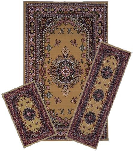 Traditional Oriental Floral Area Rug Set - 3 PC SET ! 5 feet x 8 feet , camel, tan, red carpet, stain resistant, foyer, dining room, living room
