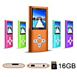 RHDTShop MP3 MP4 Player with a Internal 16GB Card, Ultra Slim 1.7 inch LCD Screen, Support UP to 64GB Card, Portable Digital Music Player, E-Book,Orange (Color: orange-n)