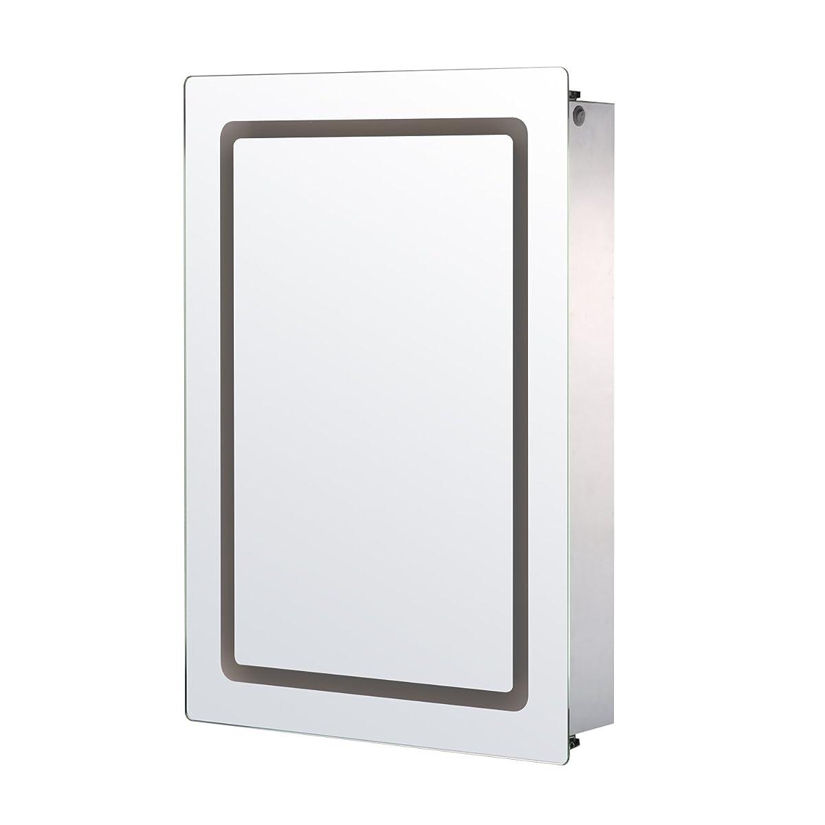 "HomCom 30"" x 21"" LED Sliding Bathroom Mirror / Medicine Wall Cabinet"
