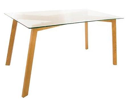 Table à manger en acier et verre - Dim : L 150 x l 80 x H 74 cm -PEGANE-