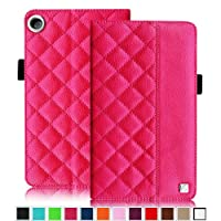 Fintie Quilted Case for Google Nexus 7 FHD 2nd Gen 2013 Android Tablet with Built-in Multi Angle Stand Auto Wake / Sleep Function - Magenta by Fintie