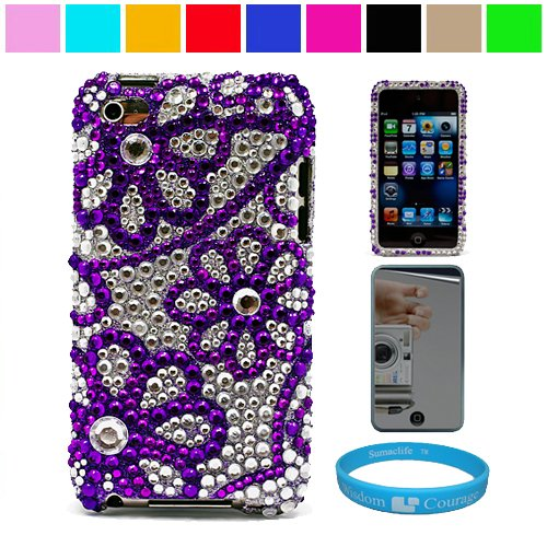 Premium Two Piece Rhinestone Design Protective Cover Case for iPod Touch 4th Generation + Mirror Screen Protector for Apple iPod Touch 4th Generation + SumacLife TM Wisdom Courage Wristband, Pulple Flower