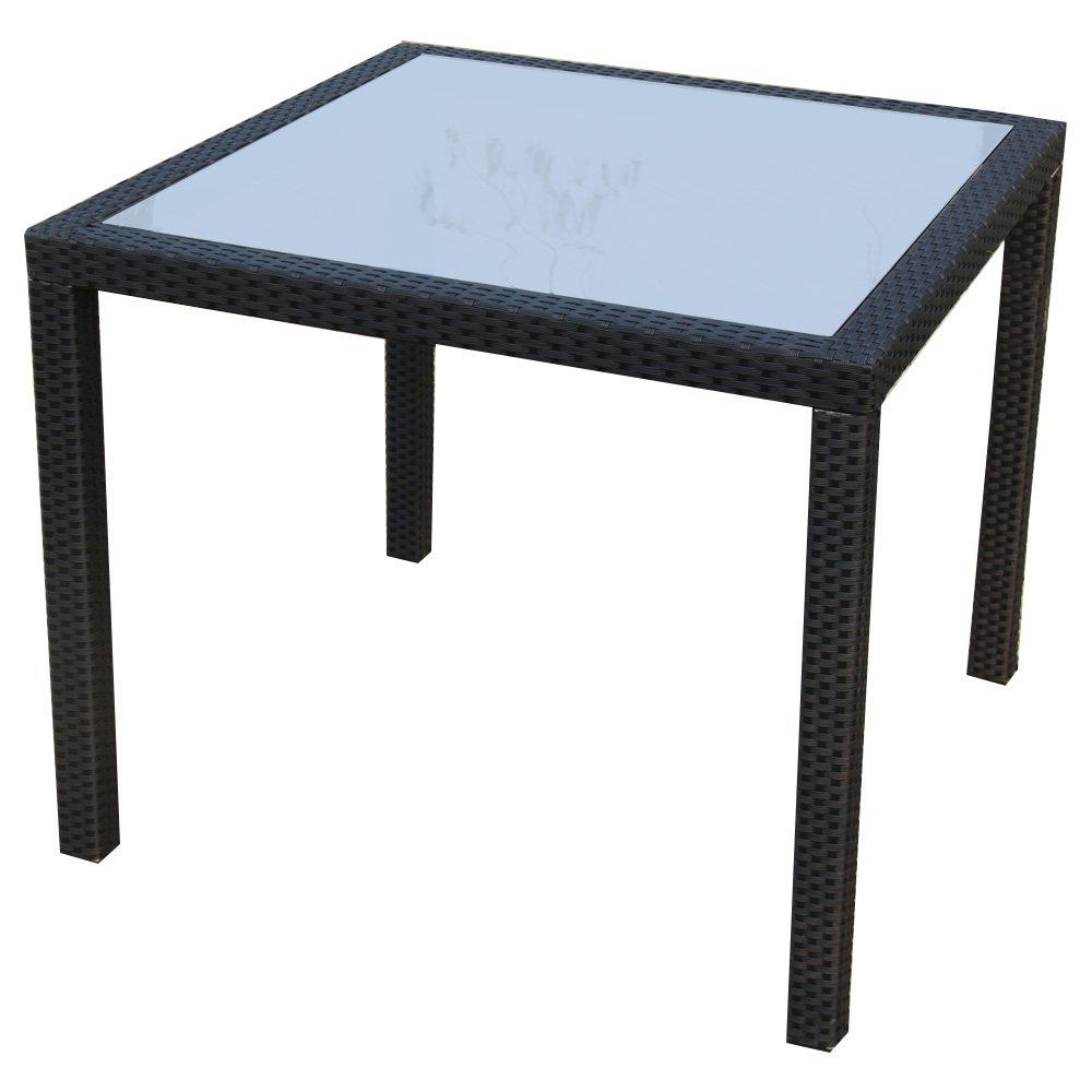 Ambientehome Polyrattan Tisch Esstisch Lubango, braun, ca. 90 x 90 cm