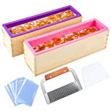 YGEOMER 2pcs 42oz Loaf Soap Mold, Rectangular Silicone Mold Set for Making Soap, with Wooden Boxes, 2 Cutters and 100pcs 4x6 inches Bags (Color: purple)