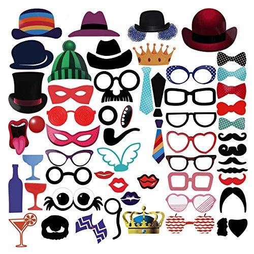 PBPBOX-Photo-Booth-59-Piece-Novelty-Photo-Booth-Props-Kit-for-Parties-Fun-Group-Photos-Etc