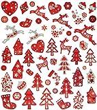 54 tlg. Set Aufkleber / Sticker - Rentier Herzen Weihnachtsbaum Weihnachten Weihnachtskugeln - mit Glitzer - Weihnachtssticker - Weihnachtsaufkleber