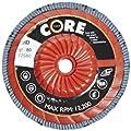 "CoreTemp 77580 Type 29 Regular Density Abrasive Flap Disc with Plastic Turbo Backing, Threaded Hub, Zirconium, 5"" Diameter, 5/8""-11 Arbor, 80 Grit  (Pack of 5)"