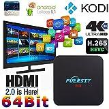 NEW Puersit TV BOX Q2 Pro Android 5.1 Amlogic S905 Kodi 16.0 Quad Core 1GB/8GB Full Loaded Wifi, 1080P, 4K Smart Media Player with EMMC/H.265/Root/IPTV/OTT TV