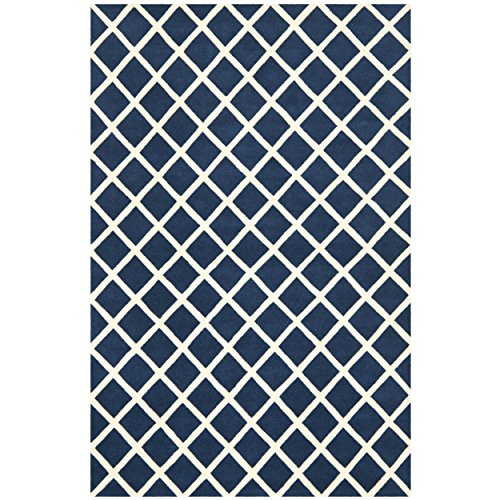 Safavieh Chatham Collection CHT718C Handmade Dark Blue and Ivory Wool Area Rug, 5 feet by 8 feet (5' x 8')