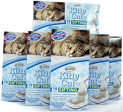 Kitty Cat Sifting Litter Box Liners- 10 Per Box Plus 1 Transfer Liner Per Box- Size 40in X 38in (6 Pack/boxes) (Sifting Cat Pan Liners compare prices)