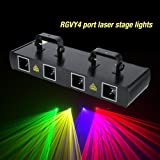 4 Lens 30W Stage Light 100 Multi-Patterns 7CH DMX512 Controlled Disco DJ Party Effect Lights RGPY US Plug 110V (Black)