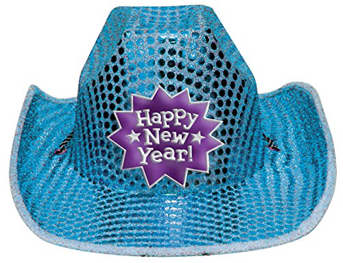 New Year's Sequin Cowboy Hat 5in x 13in
