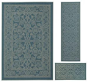 Rubber back non slip 3 piece rug set fancy for Traditional kitchen rugs