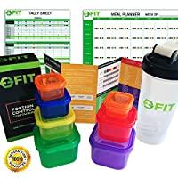 BEST VALUE SET 7 Piece PORTION CONTROL CONTAINERS + PROTEIN SHAKER BOTTLE + COMPLETE GUIDE + COOKBOOK & MEAL PLANNER & TALLY SHEETS (PDF's) for Weight Loss Comparable to 21 Day Fix